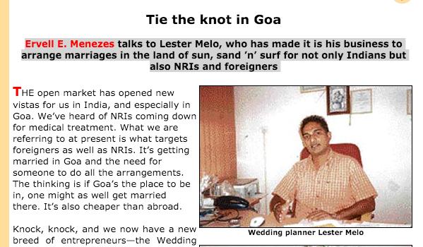 Tie The Knot in Goa - The Tribune
