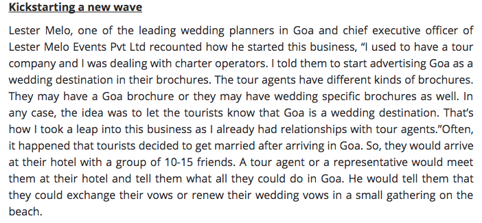 You bring the romance, they bring the rest by ``The Goan``